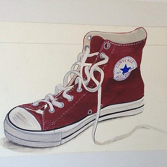 dessin d'une converse rouge