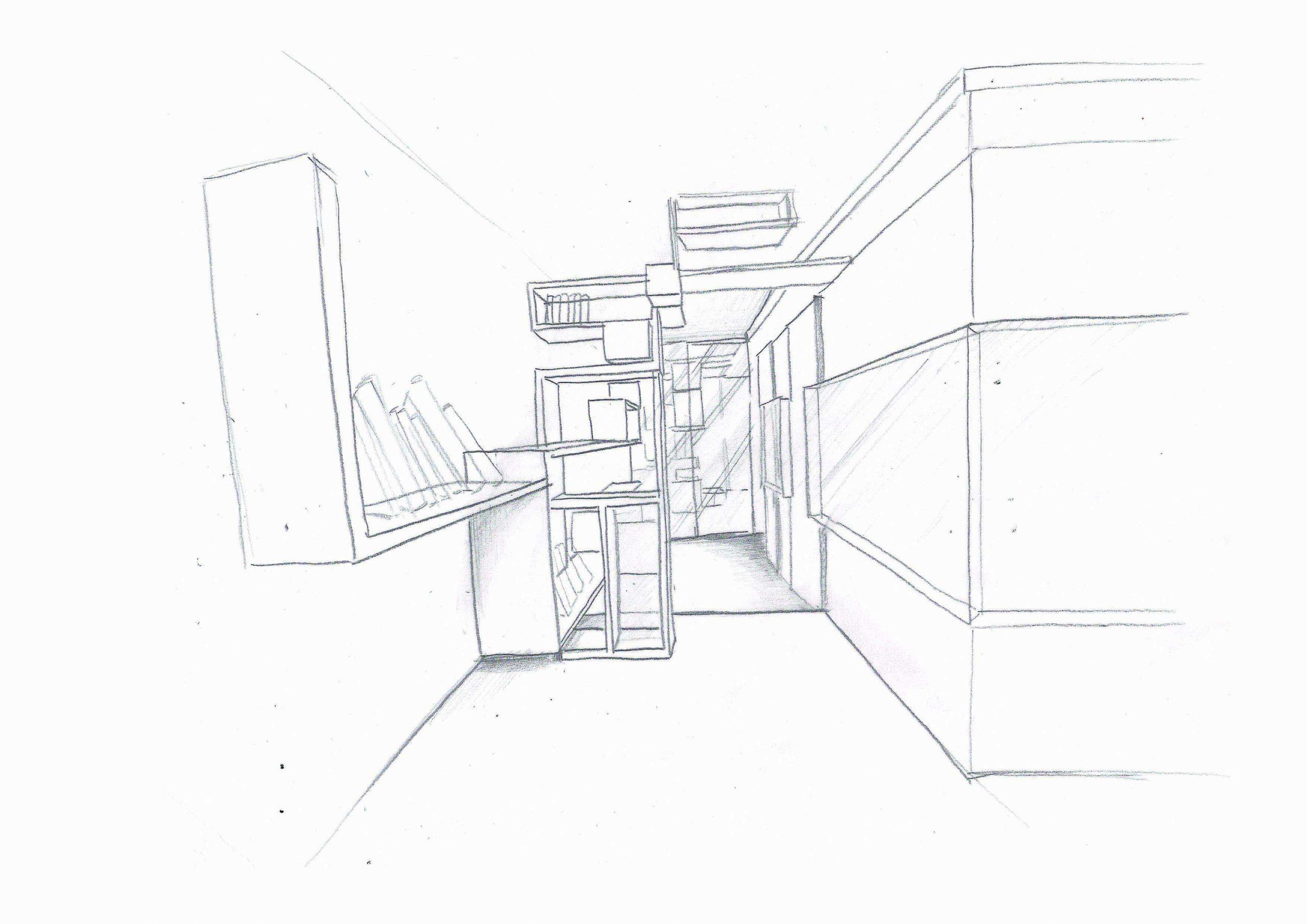 croquis étagère couloir